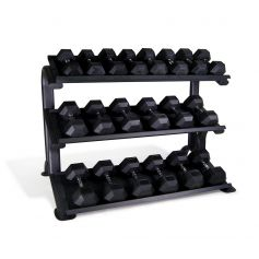 PROWOD Lot de Rack + Haltères en Caoutchouc Hexagonales 1-25 kg (Peso Libre) progym