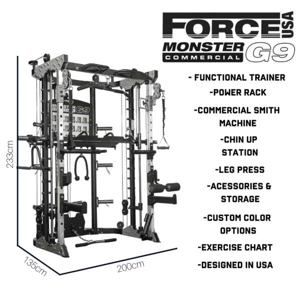 Force USA G9 Functional Trainer, Power Rack, Smith Machine, Leg Press et accessoires - 100% Professionnel