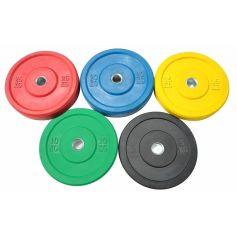 PROWOD Lot de Disques Bumper en Caoutchouc Noir Solide 5-25 kg (Discos) PROGYM DISQUES BUMPER PROFESSIONNELS