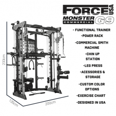 Force USA G9 Functional Trainer, Power Rack, Smith Machine, Leg Press y accesorios - 100% Profesional