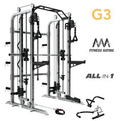 ForceUSA G3 Functional Trainer, Power Rack, Smith Machine con Banco Ajustable, Leg Press y accesorios. 100% Incluido